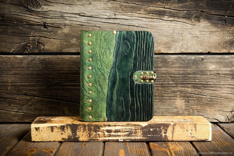 Зеленый блокнот из дерева и кожи, Блокноты, Красноярск,  Фото №1