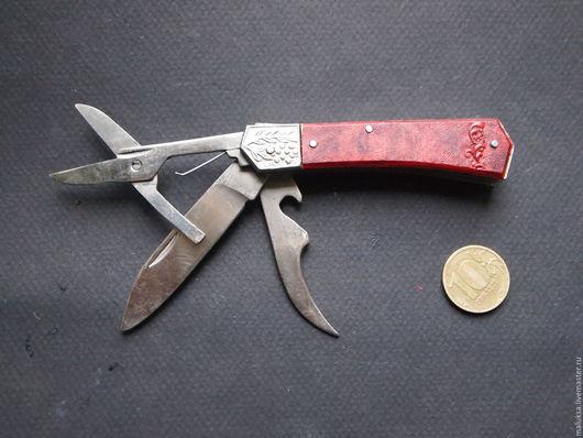 Винтажные сувениры. Ярмарка Мастеров - ручная работа. Купить Нож с ножницами СССР карманный новый. Handmade. Бордовый, карманный