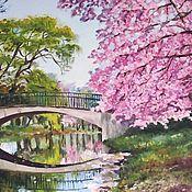 """Картины и панно ручной работы. Ярмарка Мастеров - ручная работа Картина маслом """"Весна. Цветение"""". Handmade."""