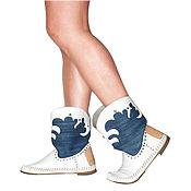Обувь ручной работы handmade. Livemaster - original item Summer boots TEXASO denim-natural kozha40 - 41razmer. Handmade.