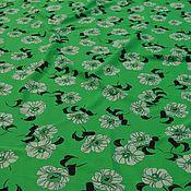 Материалы для творчества ручной работы. Ярмарка Мастеров - ручная работа Итальянский шелк с цветочным принтом на зеленом фоне. Handmade.