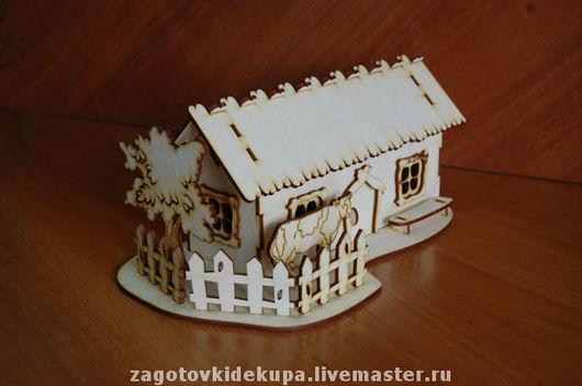 Чайный домик `Домик в деревне`  (продается в разобранном виде) габарит - 29х16х11 см домик - 20х8х11 см,  подставка 29х16 см Материал: фанера 3 мм