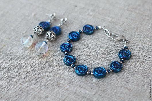 Комплект «Синяя волна» из гематита от RStone, отличный подарок.