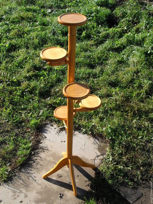 Мебель ручной работы. Ярмарка Мастеров - ручная работа. Купить подставка для цветов 5-ти местная из дерева. Handmade. Желтый
