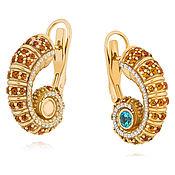 Украшения handmade. Livemaster - original item 585 gold earrings with diamonds, Topaz and citrines. Handmade.