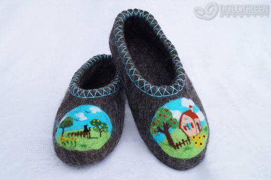 """Обувь ручной работы. Ярмарка Мастеров - ручная работа. Купить Валяные тапочки """"Лето в деревне"""". Handmade. Темно-серый"""