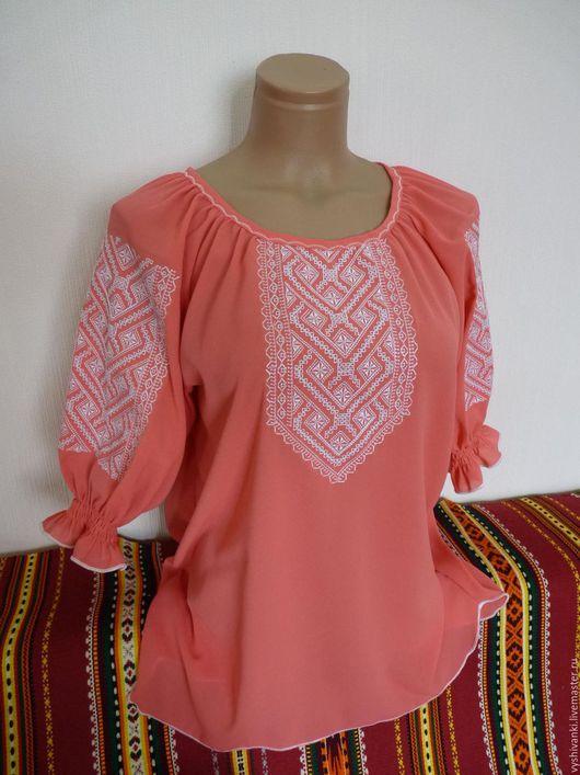 Этническая одежда ручной работы. Ярмарка Мастеров - ручная работа. Купить Легкая женская вышитая блузка на шифоне. Handmade. Коралловый