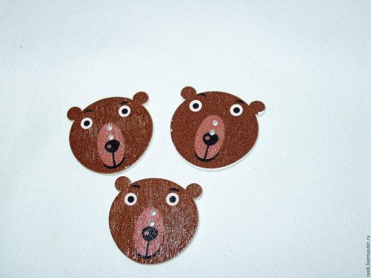 Шитье ручной работы. Ярмарка Мастеров - ручная работа. Купить Пуговицы деревянные, мордочки медведя. Handmade. Цветные пуговицы, пуговицы