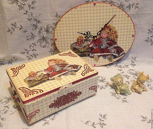 Детская ручной работы. Ярмарка Мастеров - ручная работа. Купить Часы и шкатулка,комплект для маленькой принцессы. Handmade. Бежевый, для девочки