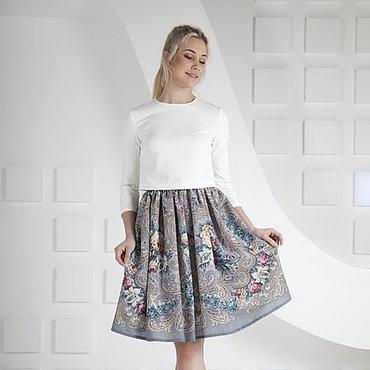 Одежда ручной работы. Ярмарка Мастеров - ручная работа Юбка на каждый день, юбка из Павлопосадского платка. Handmade.