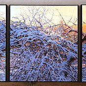 """Картины и панно ручной работы. Ярмарка Мастеров - ручная работа Картина триптих """"Первый снег"""". Handmade."""