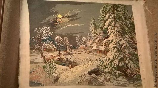 """Пейзаж ручной работы. Ярмарка Мастеров - ручная работа. Купить Гобелен  """"Зимняя ночь"""". Ручная вышивка гобеленовым швом. Handmade."""