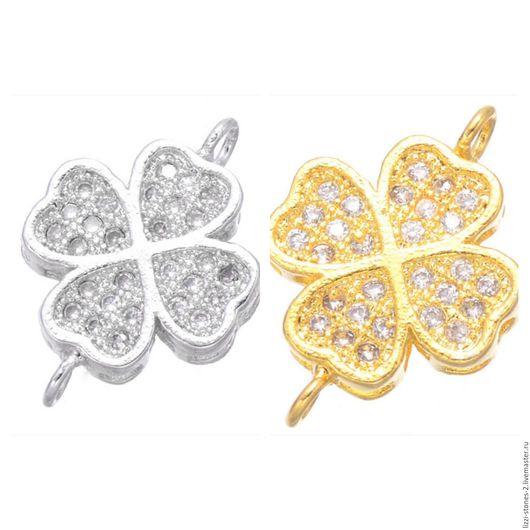 Коннектор Клевер mini серебро и золото (Milano) Евгения (Lizzi-stones-2)