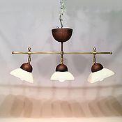 Для дома и интерьера ручной работы. Ярмарка Мастеров - ручная работа Керамический светильник с тремя плафонами и латунным каркасом.. Handmade.