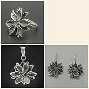 handmade. Livemaster - original item Earrings Flowers. large earrings. 3D Flower. Handmade.