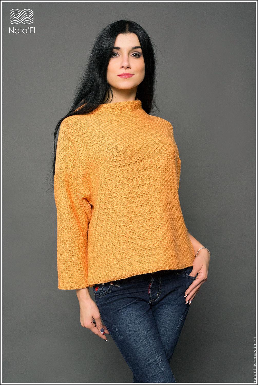Оранжевый свитер женский