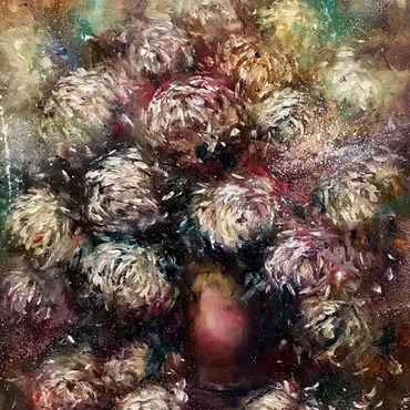 """Картины и панно ручной работы. Ярмарка Мастеров - ручная работа """"Хризантемы в вазе """" картина маслом. Handmade."""