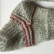 Работы для детей, handmade. Livemaster - original item Slim down knitted baby socks (silver, cranberry). Handmade.