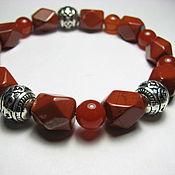Украшения handmade. Livemaster - original item Bracelet with red Jasper and carnelian