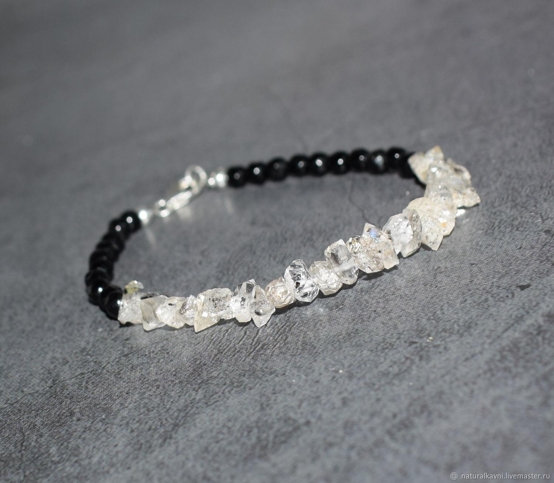 Silver 925pr. Herkimer Diamond and Black Tourmaline Bracelet, Bead bracelet, Moscow,  Фото №1