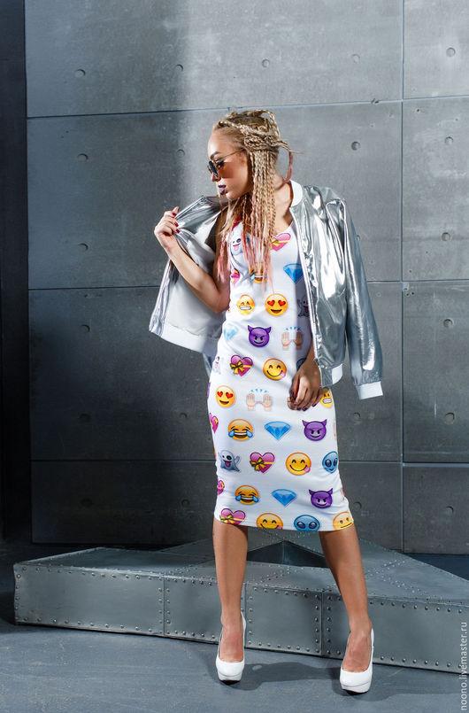 """Платья ручной работы. Ярмарка Мастеров - ручная работа. Купить Платье-майка """"Emoji"""". Handmade. Комбинированный, платье в обтяжку, емоджи"""