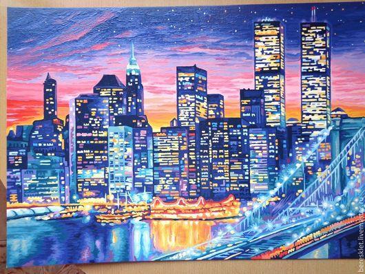 """Город ручной работы. Ярмарка Мастеров - ручная работа. Купить Картина """"Ночной Манхеттен"""" (продано). Handmade. Город, небо, Америка"""