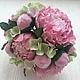 Свадебные цветы ручной работы. Ярмарка Мастеров - ручная работа. Купить Букет невесты с пионами и гортензией из полимерной глины. Handmade.