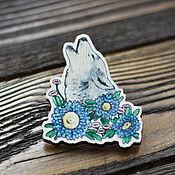 Украшения handmade. Livemaster - original item Wood badge Wolf. Handmade.