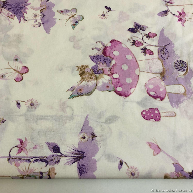 100% cotton, Turkey, lilac fairies, Fabric, Moscow,  Фото №1