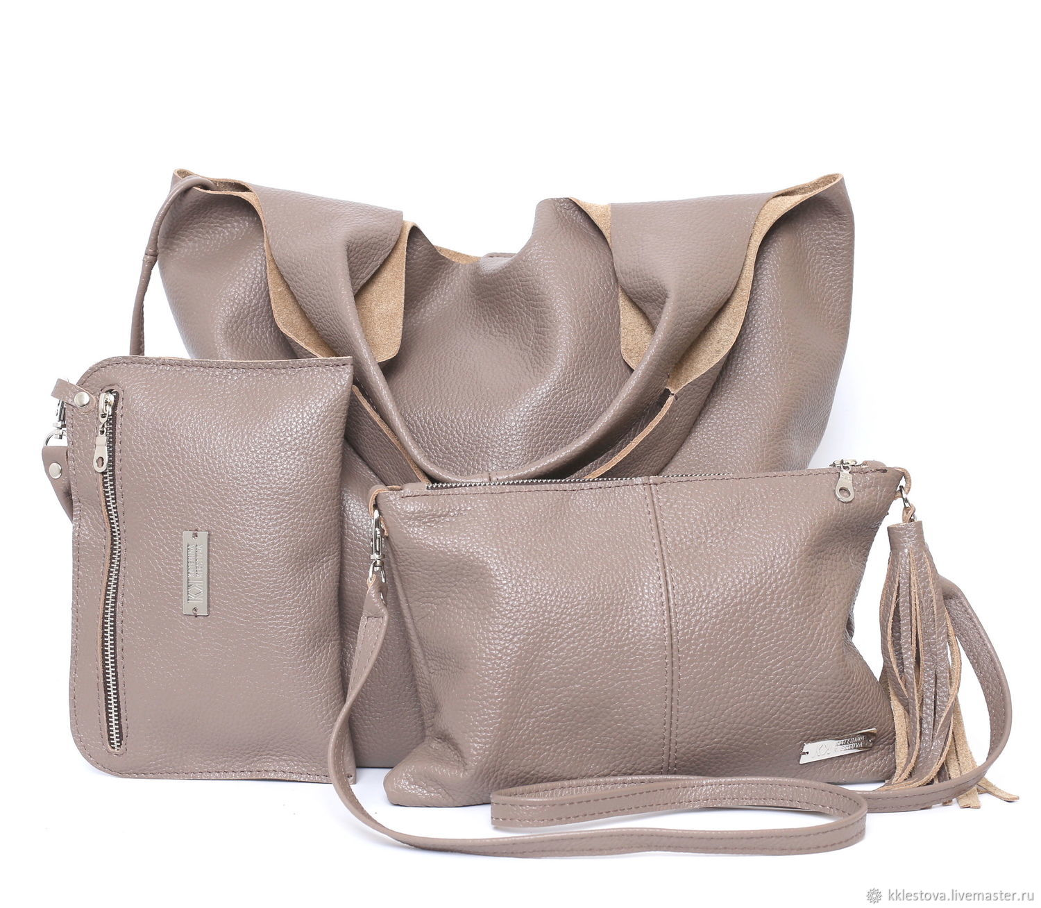 Beige leather bag bag with cosmetic bag Crossbody string Bag Package, Sacks, Moscow,  Фото №1