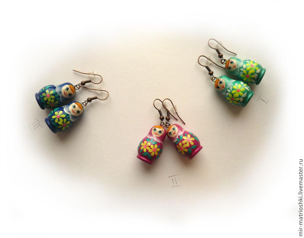 Earrings Matryoshka Nesting Dolls Matrioska Mir Matrioshki