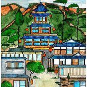 Картины ручной работы. Ярмарка Мастеров - ручная работа Картина акварелью. Японская деревня. Handmade.