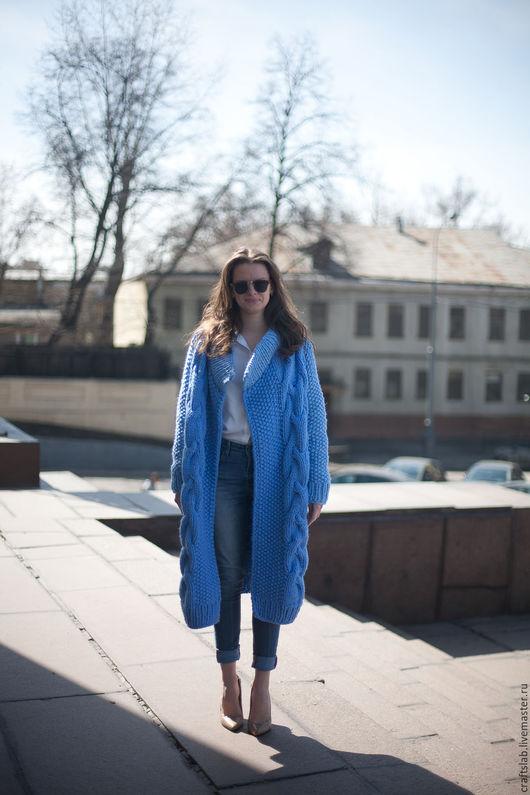 вязаный кардиган, пальто вязаное, пальто купить, дизайнерская одежда, весна 2016, чистая шерсть, голубой цвет, ручная работа купить, вязаный кардиган купить, вязаное пальто купить