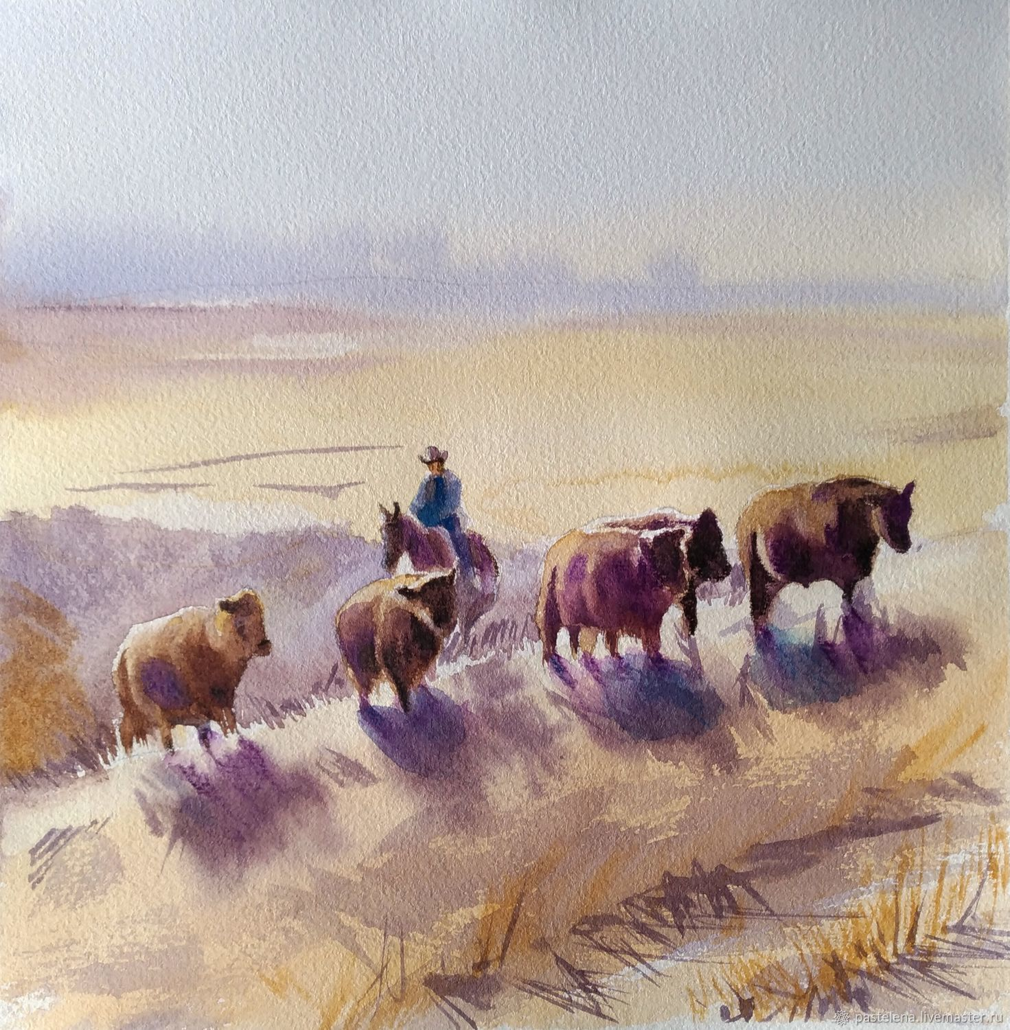 Watercolor painting Landscape herd (sand brown cows), Pictures, ,  Фото №1
