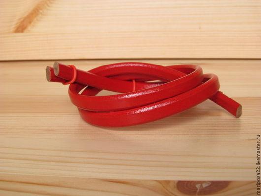 Для украшений ручной работы. Ярмарка Мастеров - ручная работа. Купить СКИДКА! Шнур 10х5 кожаный, красный. Handmade.