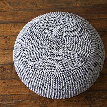 Мебель ручной работы. Ярмарка Мастеров - ручная работа Пуф вязаный бескаркасный Gray Superpuff. Handmade.