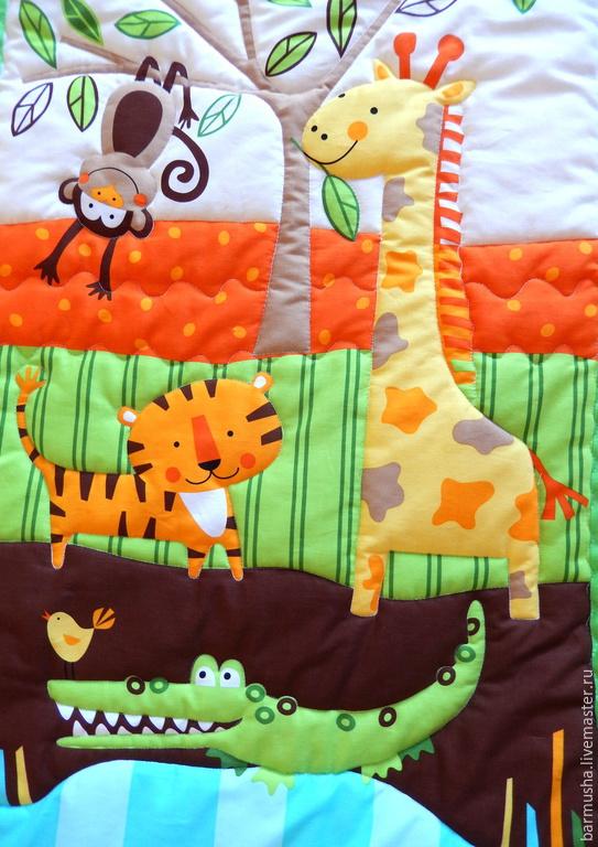 """Пледы и одеяла ручной работы. Ярмарка Мастеров - ручная работа. Купить Детское лоскутное покрывало (развивающий коврик) """"Джунгли"""". Handmade."""