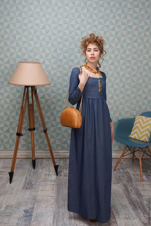 """Платья ручной работы. Ярмарка Мастеров - ручная работа. Купить Джинсовое платье-ампир """"Элиза"""". Handmade. Синий, ампир"""