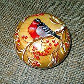 Для дома и интерьера handmade. Livemaster - original item Bullfinches jewelry Box cedar wood Painted. Handmade.