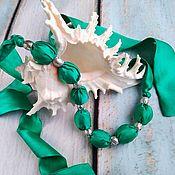 Necklace handmade. Livemaster - original item Silk beads Turquoise. Handmade.