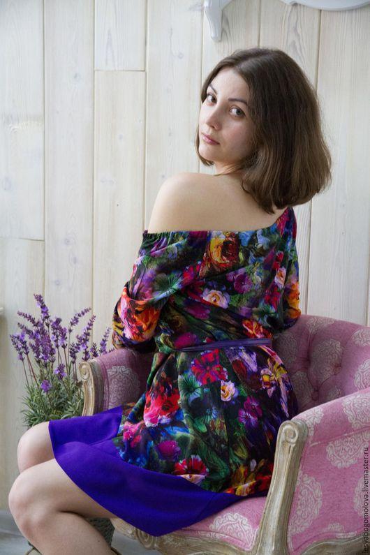 Платья ручной работы. Ярмарка Мастеров - ручная работа. Купить Стильное платье с цветочным принтом. Handmade. Комбинированный, фиолетовый, штапель