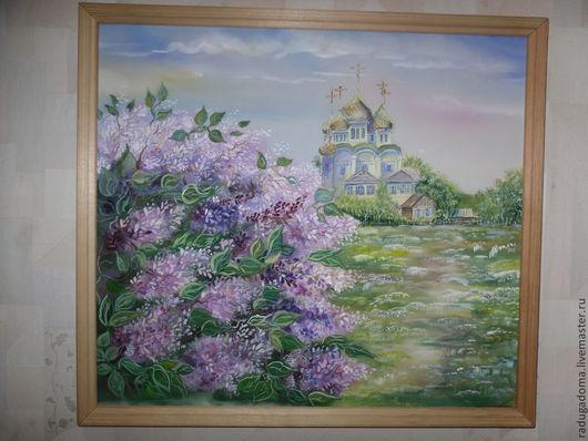 Пейзаж ручной работы. Ярмарка Мастеров - ручная работа. Купить Картина, пейзаж, акварель. Сирень цветет.. Handmade. Картина на шелке