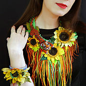 Украшения handmade. Livemaster - original item Necklace and bracelet made of leather