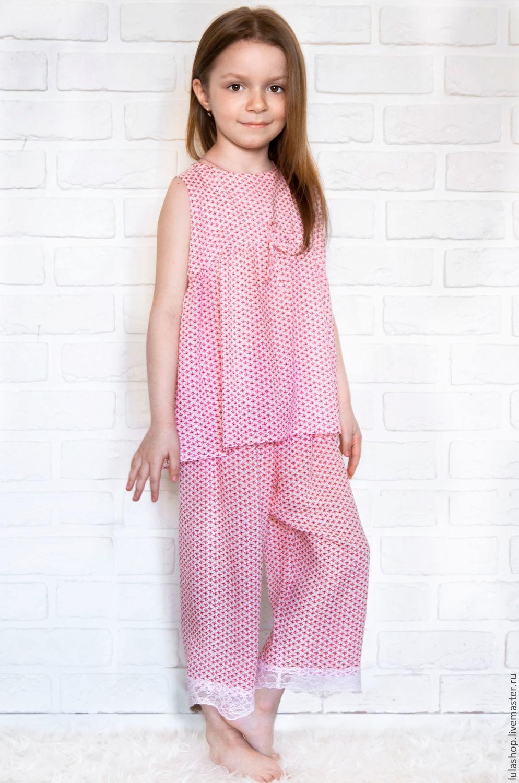 Белье ручной работы. Ярмарка Мастеров - ручная работа. Купить Пижама для девочки из тонкой вискозы. Handmade. Пижама, ночное белье