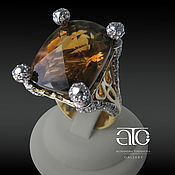 Украшения handmade. Livemaster - original item Golden ring with citrine and CZ. 585.. Handmade.
