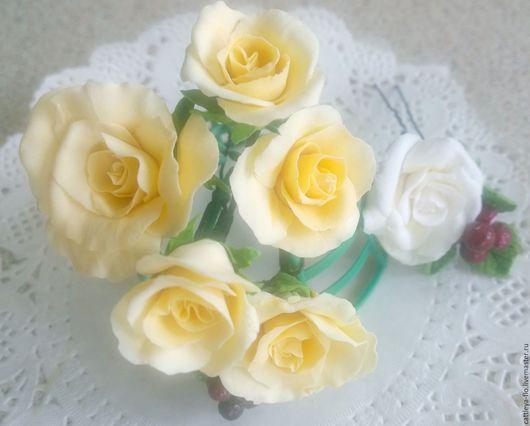 """Свадебные украшения ручной работы. Ярмарка Мастеров - ручная работа. Купить Шпильки """"Розы"""". Handmade. Желтый, шпильки для невесты"""