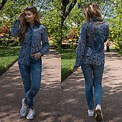 Одежда ручной работы. Ярмарка Мастеров - ручная работа Рубашка кружевная джинсовая. Handmade.