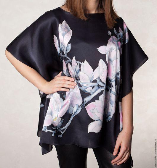 """Блузки ручной работы. Ярмарка Мастеров - ручная работа. Купить Батик блуза """"Магнолия"""". Handmade. Черный, розовые цветы, Батик"""