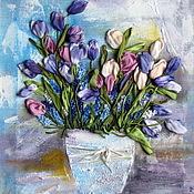 Картины и панно ручной работы. Ярмарка Мастеров - ручная работа Тюльпаны и мускари. Handmade.
