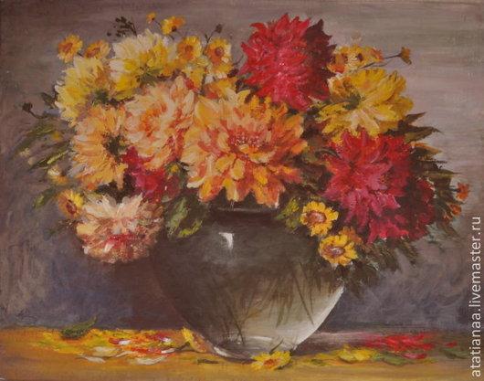 Картины цветов ручной работы. Ярмарка Мастеров - ручная работа. Купить Осенние цветы. Handmade. Разноцветный, астры, холст на картоне